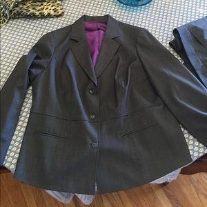 Women's wool suit with coordinating silk blouse